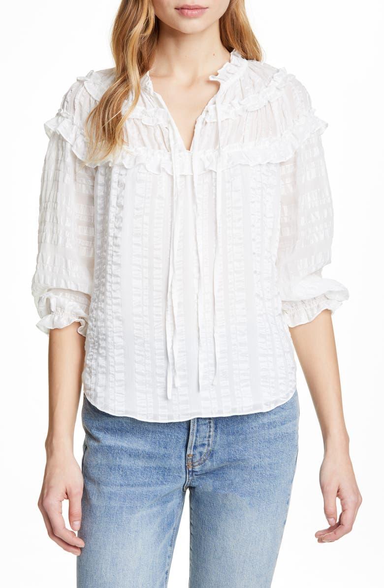 REBECCA TAYLOR Stripe Ruffle Silk Top, Main, color, SNOW