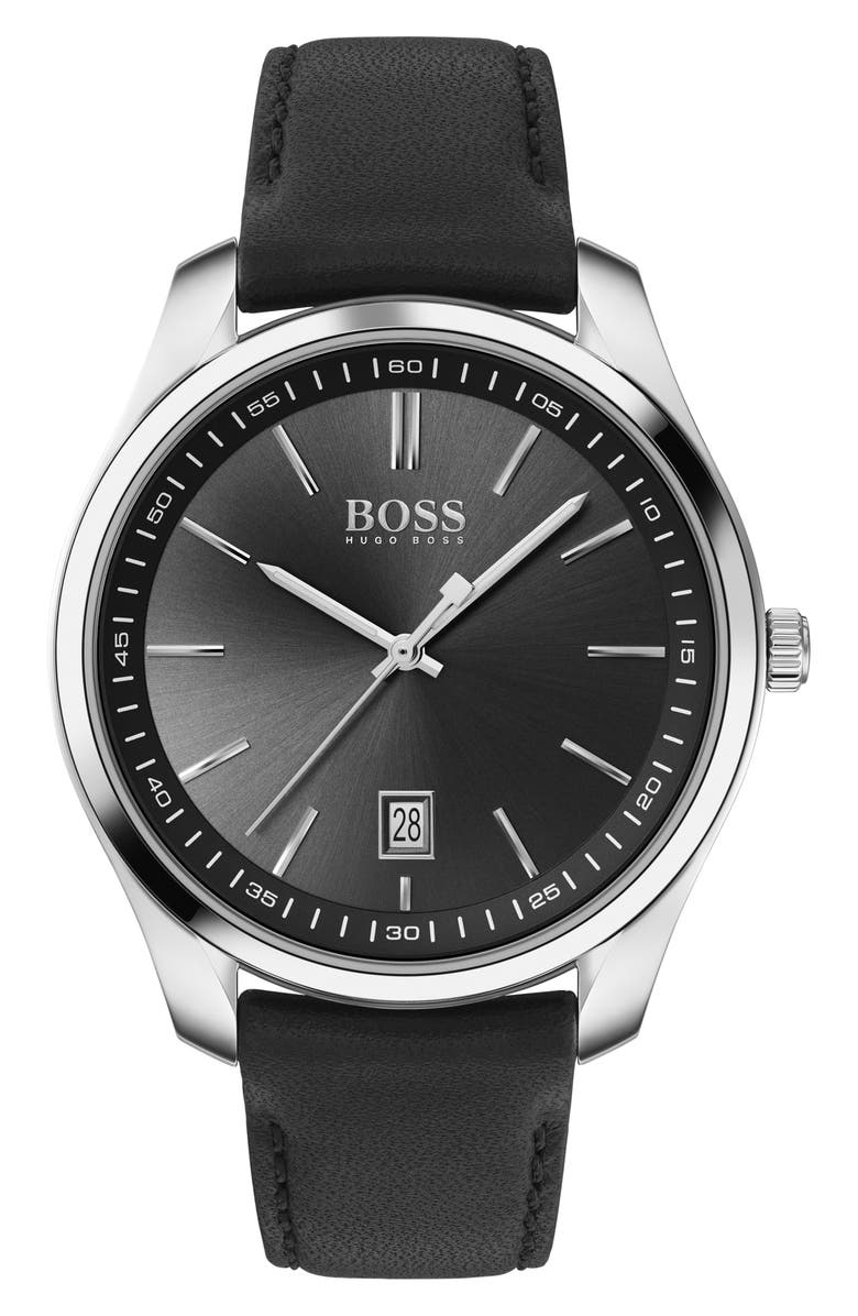 BOSS Circuit Leather Strap Watch, 42mm, Main, color, BLACK/ SILVER