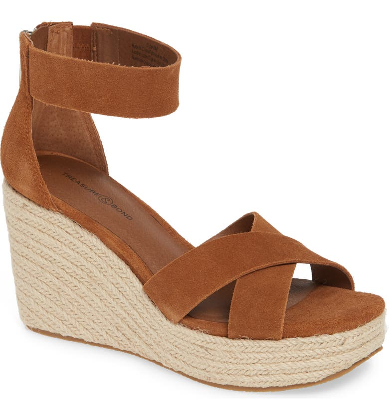 TREASURE & BOND Othelia Espadrille Wedge Sandal, Main, color, COGNAC SUEDE