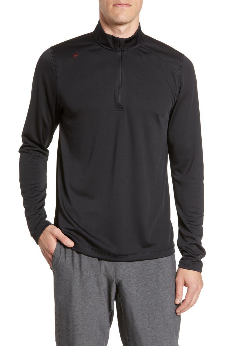 RHONE Sequoia Quarter Zip Performance Pullover, Main, color, BLACK