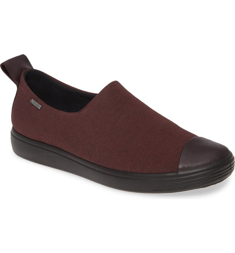 ECCO Soft 7 Gore-Tex<sup>®</sup> Slip-On Sneaker, Main, color, FIG/ BLACK LEATHER