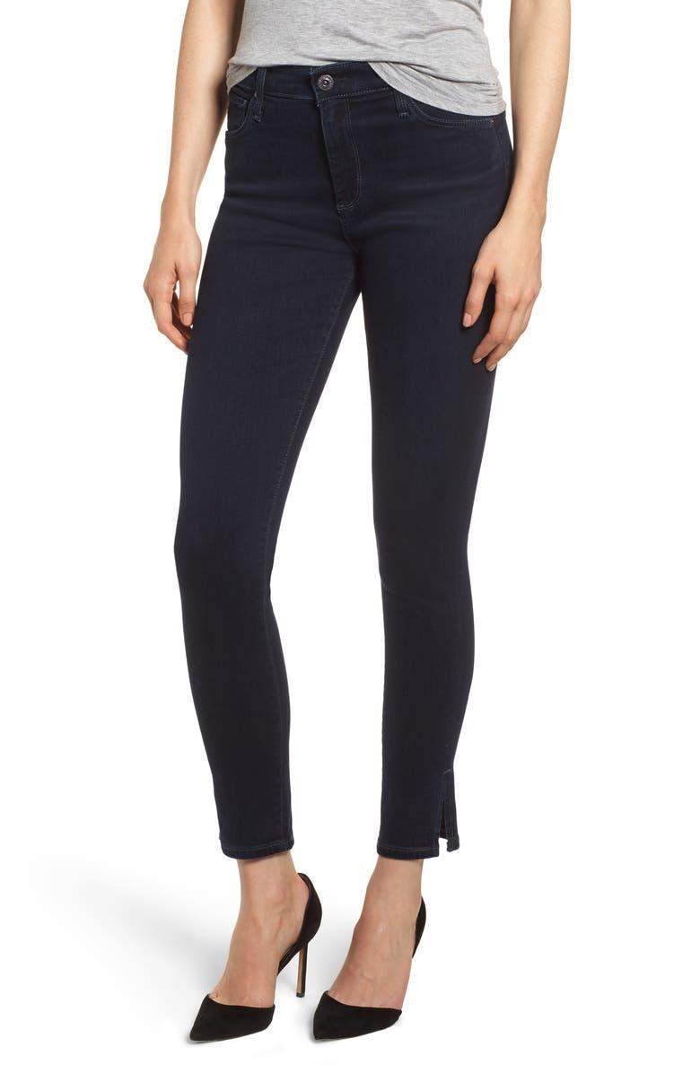 AG Farrah High Waist Split Hem Skinny Jeans, Main, color, 417