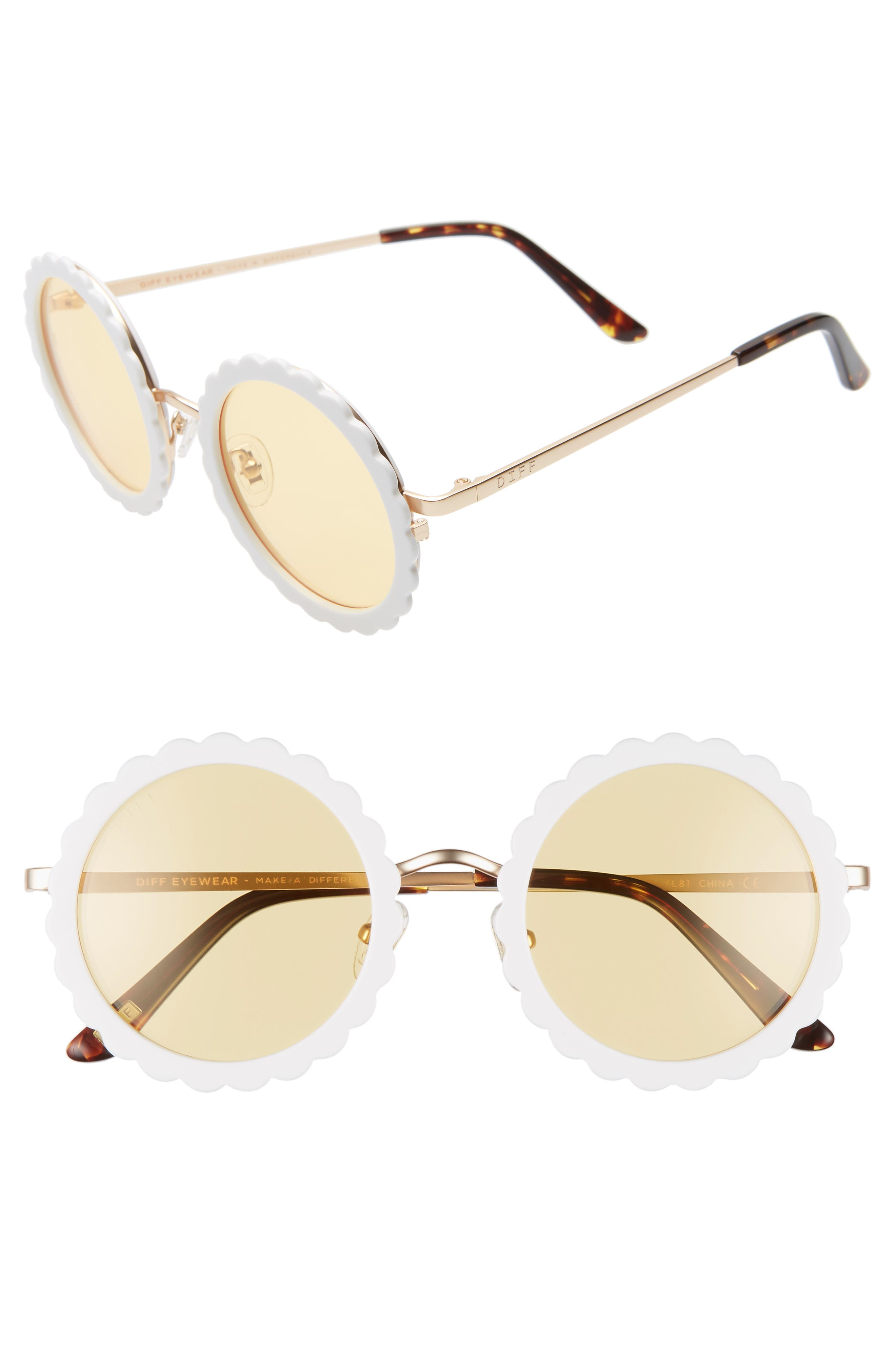 3cce32f9d5f4 1940s Sunglasses, Glasses & Eyeglasses History Womens Diff Dixie 47Mm Round  Sunglasses - White Gold