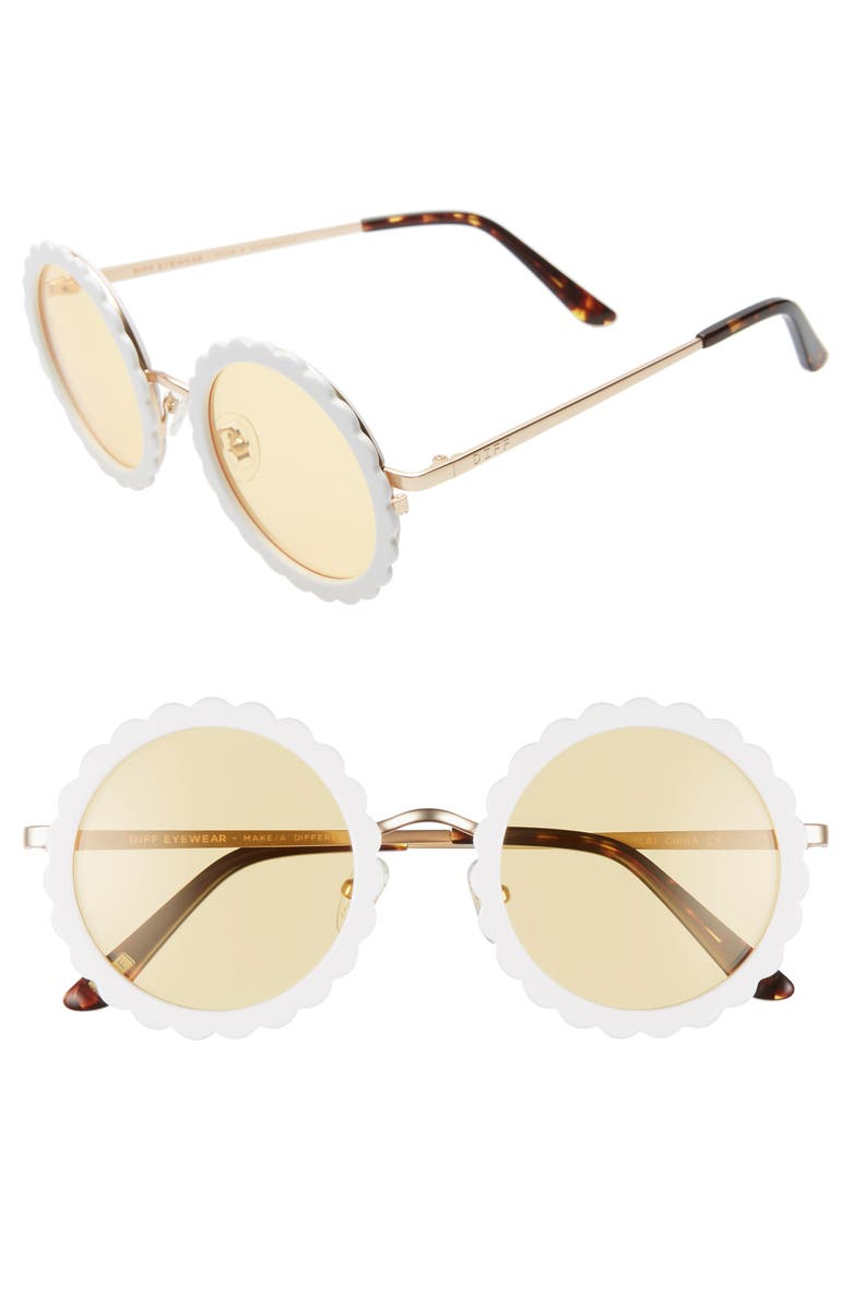 DIFF Dixie 47mm Round Sunglasses, Main, color, WHITE/ GOLD/ YELLOW
