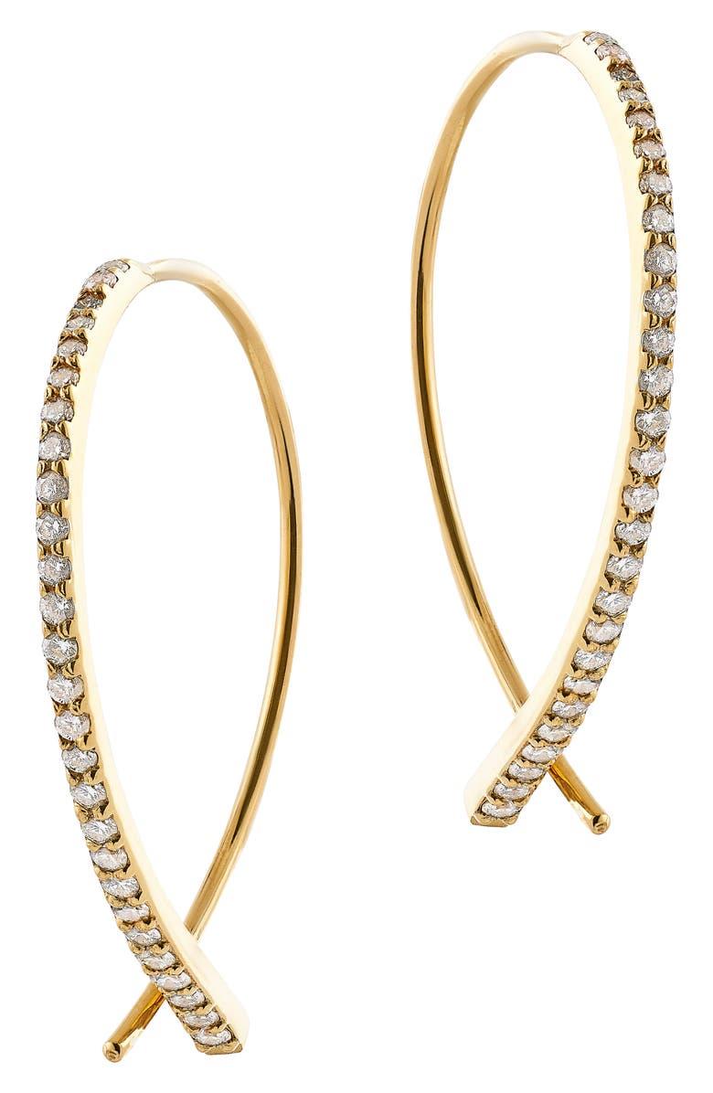 LANA JEWELRY Small Upside Down Flawless Diamond Earrings, Main, color, YELLOW GOLD