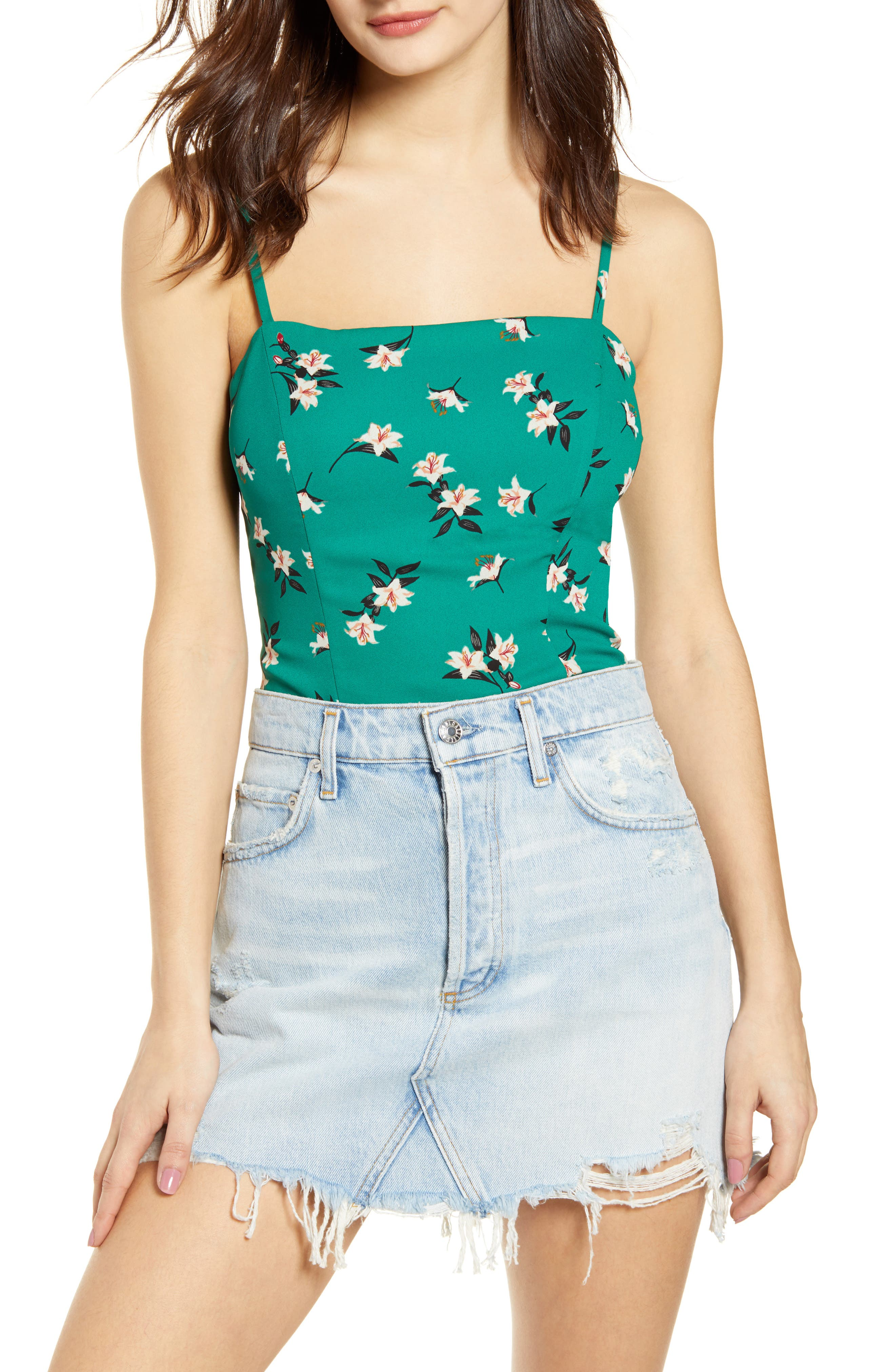 Astr The Label Floral Fitted Camisole, Green