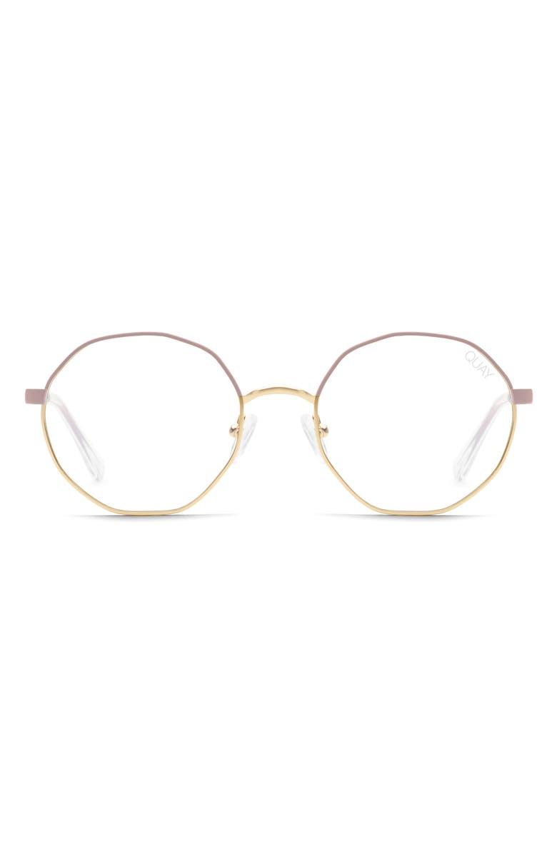 QUAY AUSTRALIA Eclectic 48mm Blue Light Blocking Glasses, Main, color, PINK GOLD/ CLEAR BLUE LIGHT