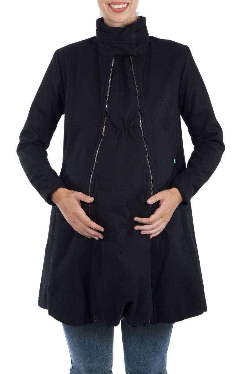 MODERN ETERNITY A-Line Convertible 3-in-1 Maternity Swing Coat, Main, color, BLACK