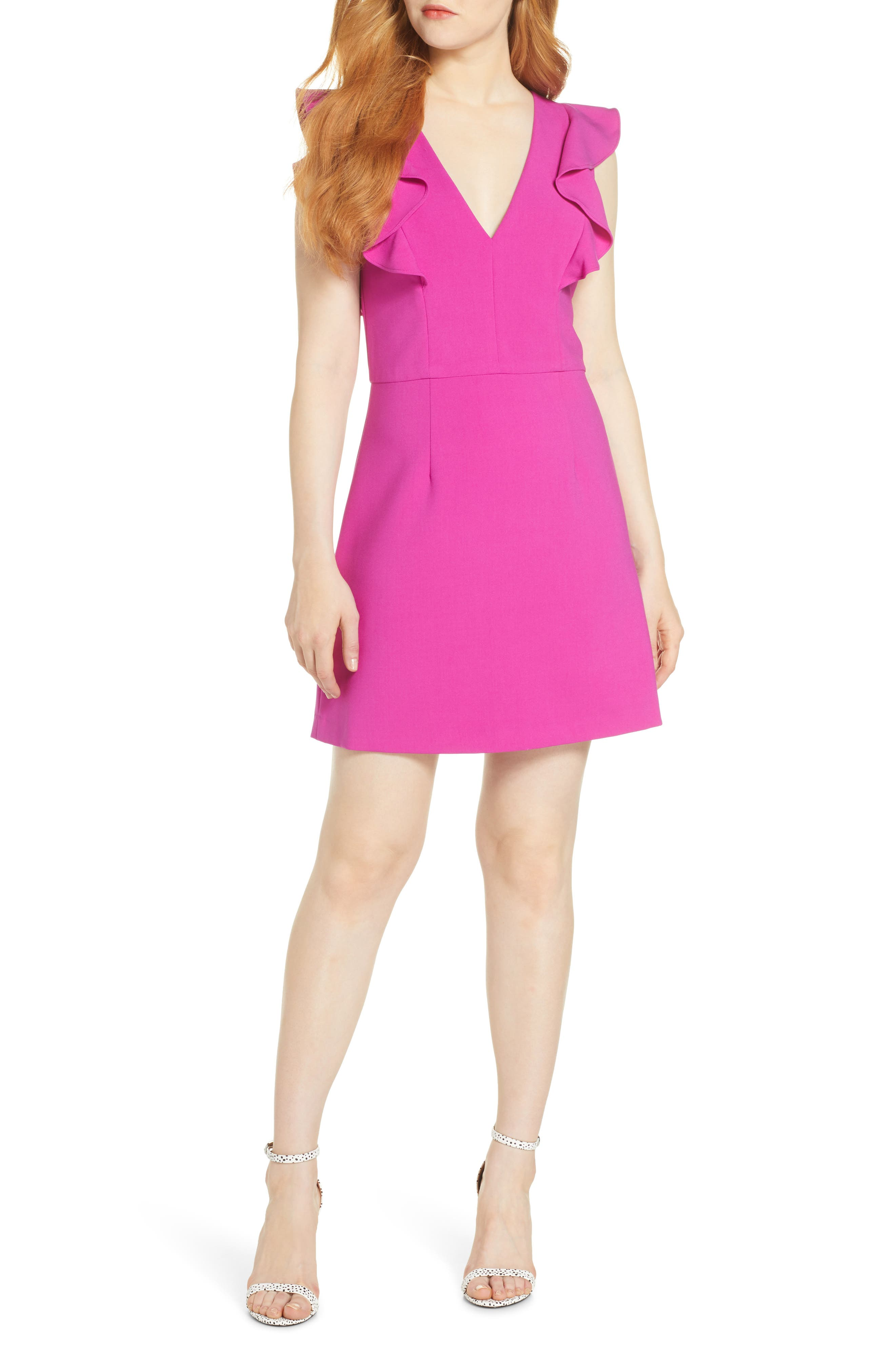 French Connection Whisper Ruffle Minidress, Pink
