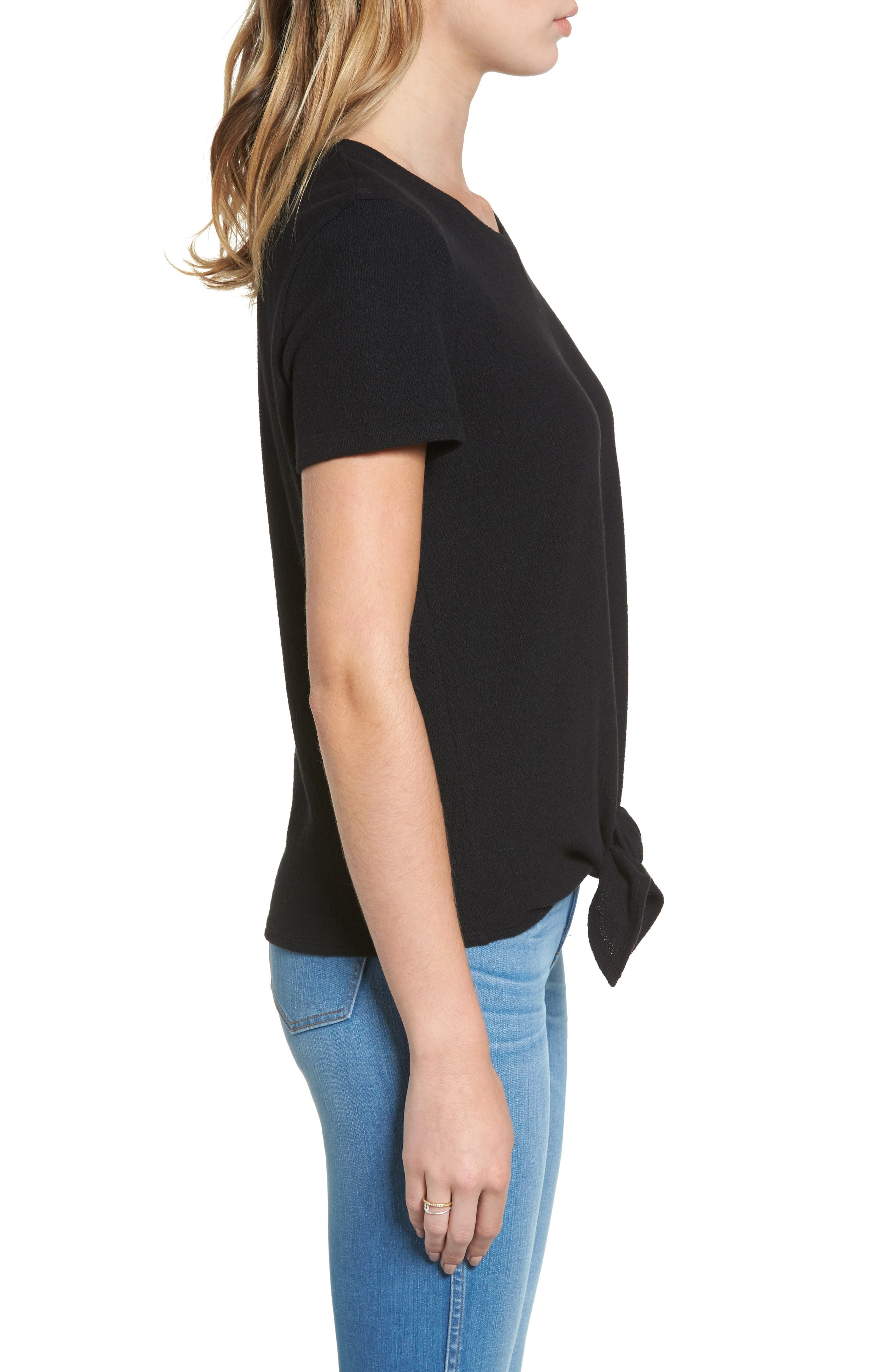 ,                             Modern Tie Front Tee,                             Alternate thumbnail 18, color,                             001
