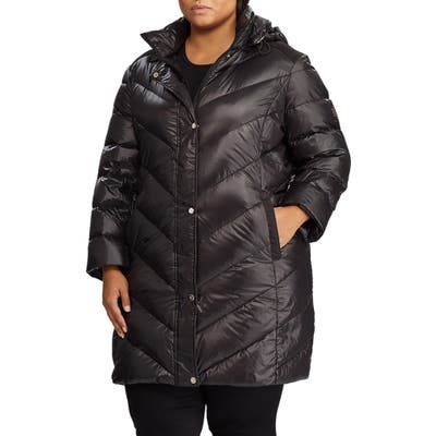 Plus Size Lauren Ralph Lauren Packable Faux Suede Trim Quilted Down Coat, Black