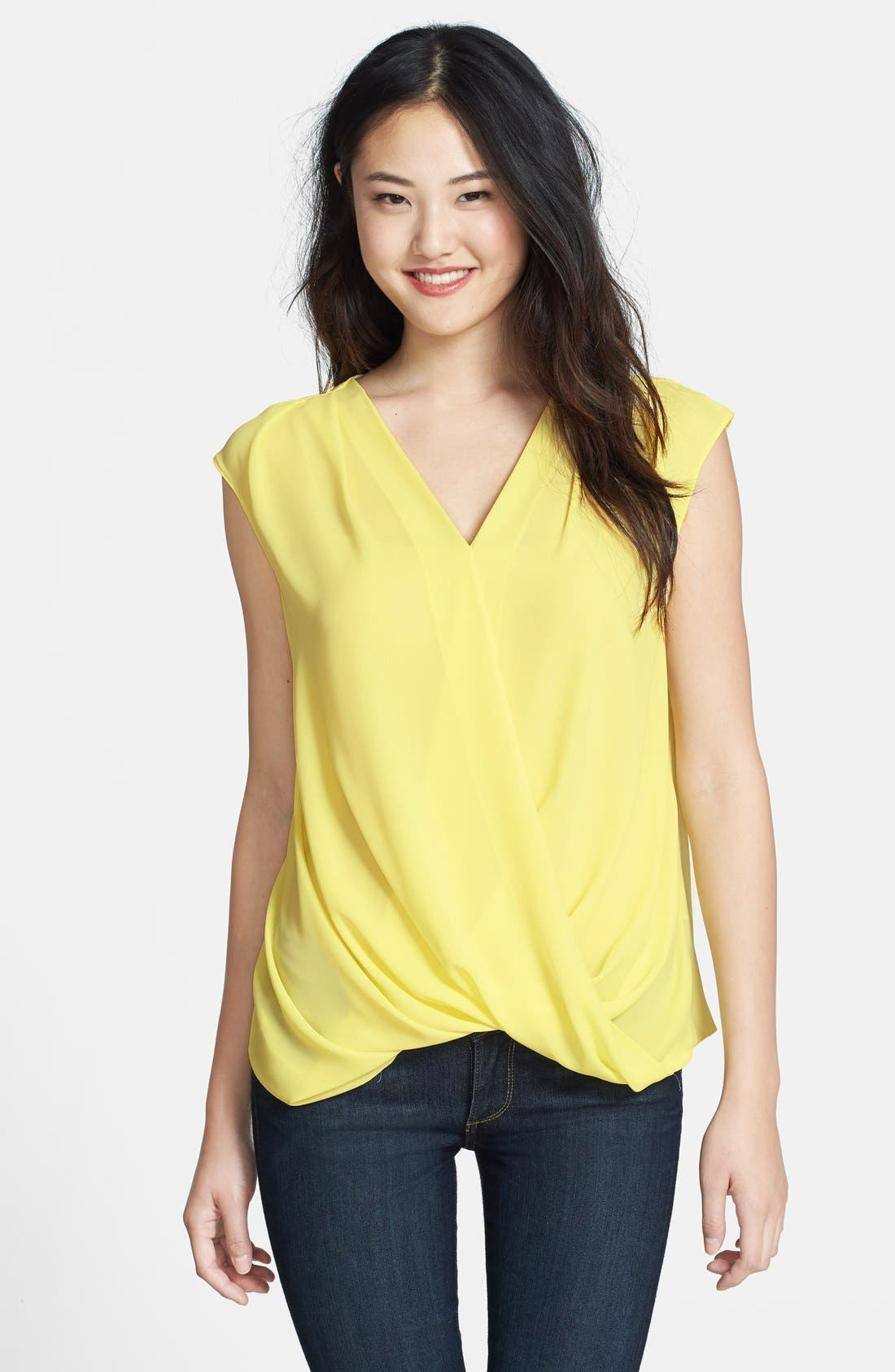 Sleeveless Drape Front Blouse, Main, color, 702