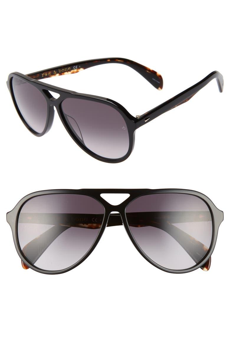 RAG & BONE 60mm Navigator Sunglasses, Main, color, BLACK