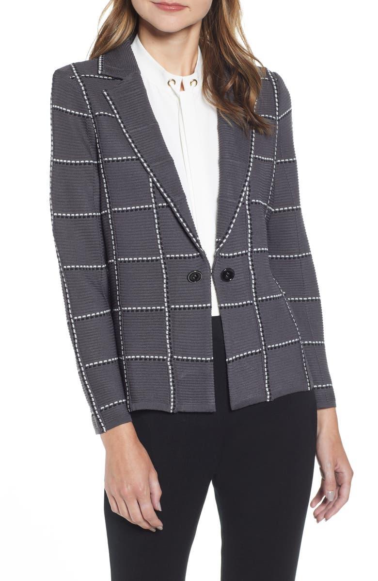 MING WANG Windowpane Jacquard Jacket, Main, color, GRANITE/ BLACK/ SILVER MIST