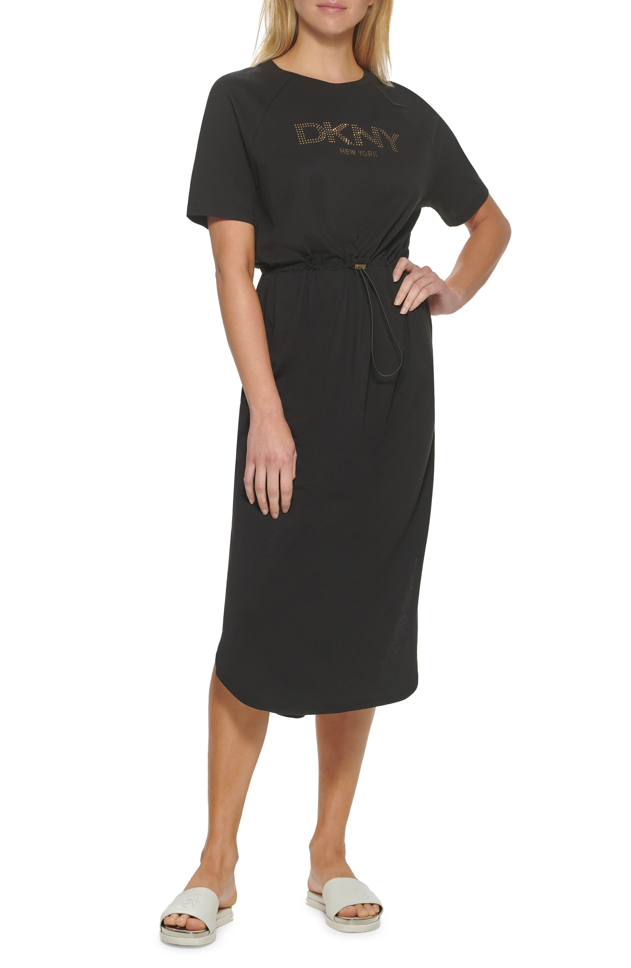 Women's Dkny Sport Beaded Logo Drawstring Waist Cotton & Modal Midi Dress