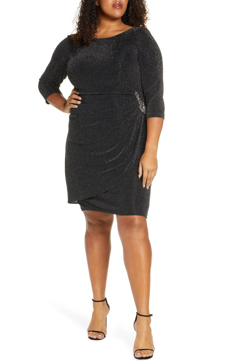 ALEX EVENINGS Side Ruched Metallic Cocktail Dress, Main, color, 001