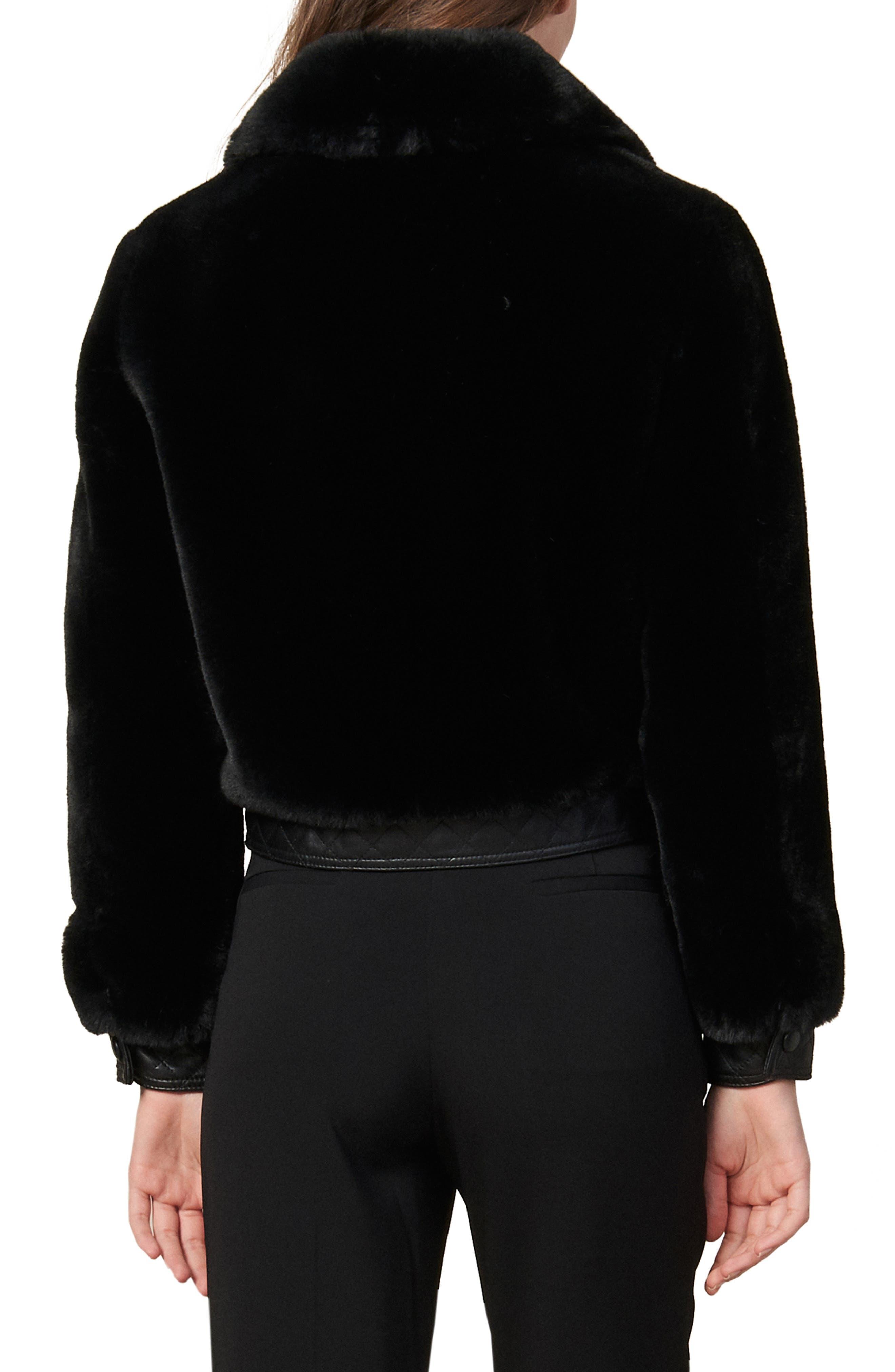 Sandro Coats Fauny Faux Fur Leather Detail Bomber Jacket