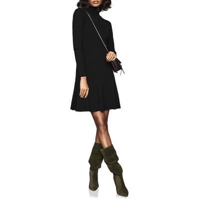 Reiss Evette Ring Pull Zipper Long Sleeve Sweater Dress, Black
