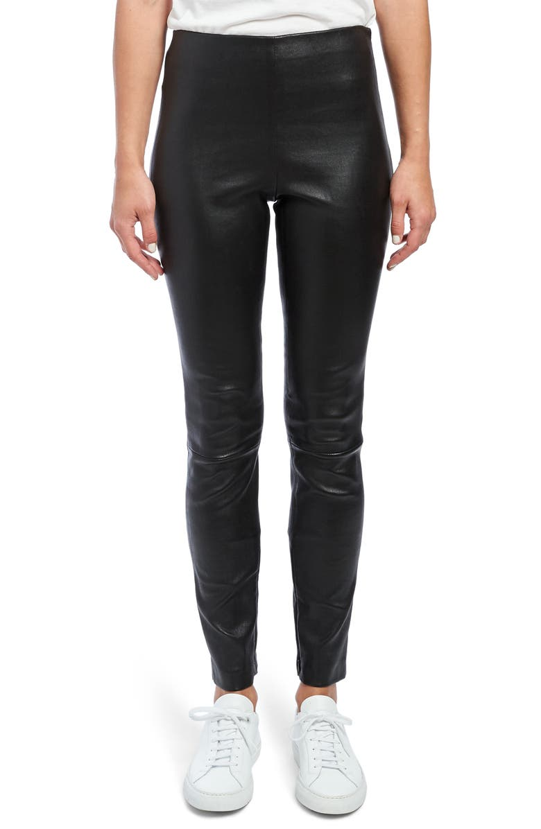THEORY Leather Skinny Leggings, Main, color, BLACK