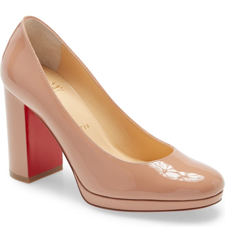 CHRISTIAN LOUBOUTIN Kabetts Block Heel Pump, Main, color, NUDE