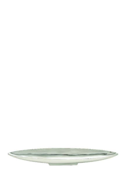"Image of Willow Row Modern 30"" Silver Aluminum Canoe-Shaped Bowled Tray"