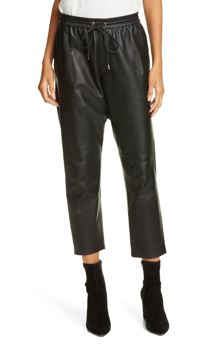 NILI LOTAN Monaco Crop Leather Pants, Main, color, 003