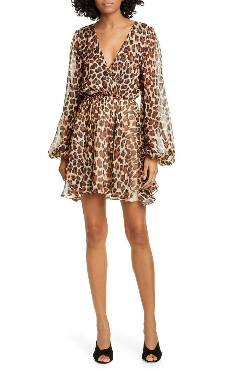 CAROLINE CONSTAS Olena Leopard Print Silk Long Sleeve Minidress, Main, color, 670