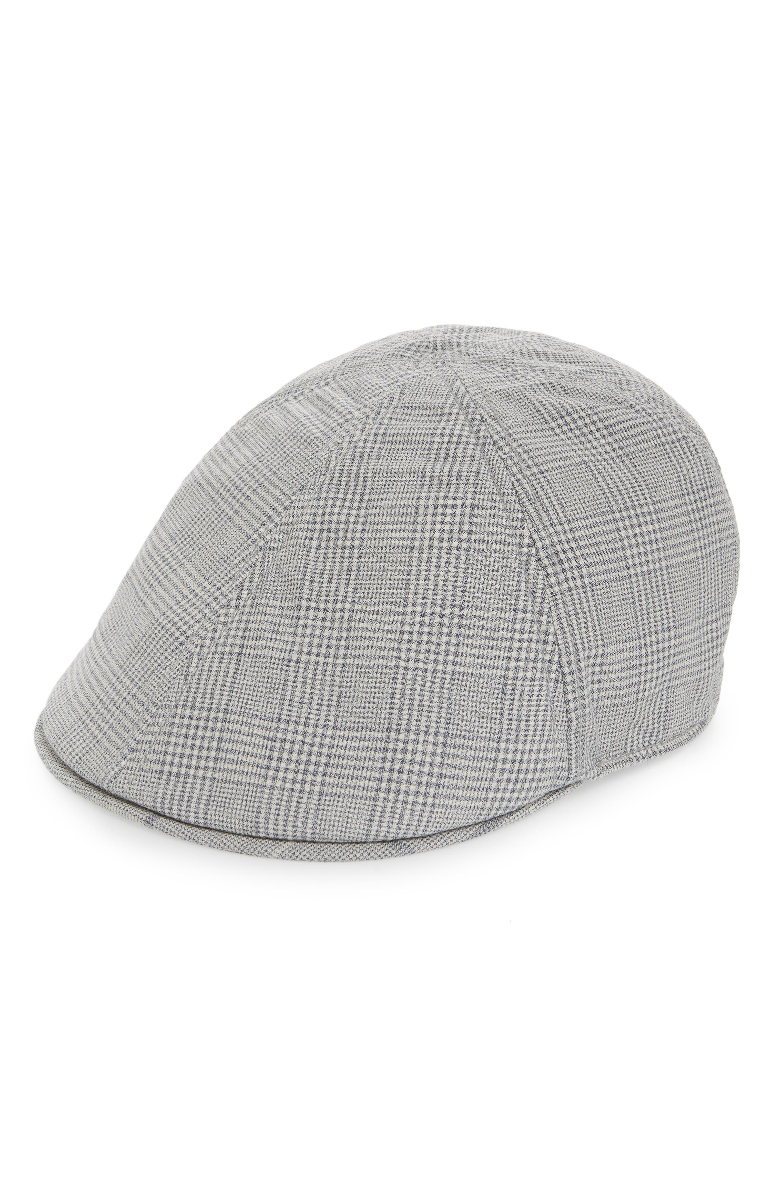 Hazy Days Glen Plaid Driving Cap, Main, color, GREY