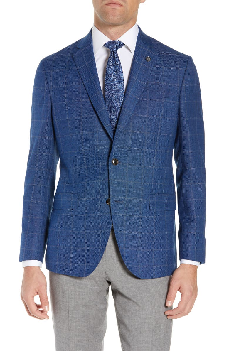 TED BAKER LONDON Konan Trim Fit Windowpane Wool Sport Coat, Main, color, 400