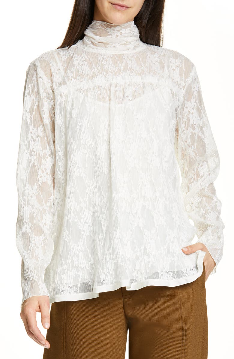 SEE BY CHLOÉ Pleated Lace Top, Main, color, 101