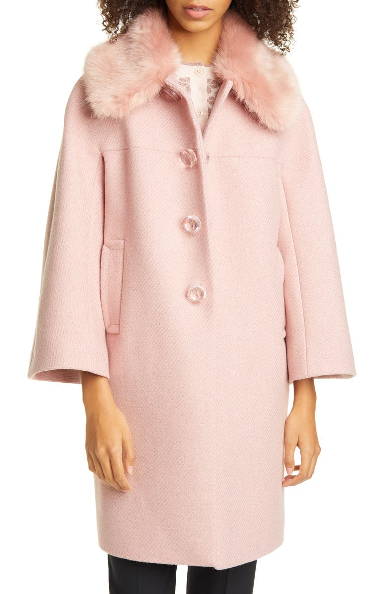 KATE SPADE NEW YORK metallic wool blend twill coat with detachable faux fur collar, Main, color, CONCH SHELL