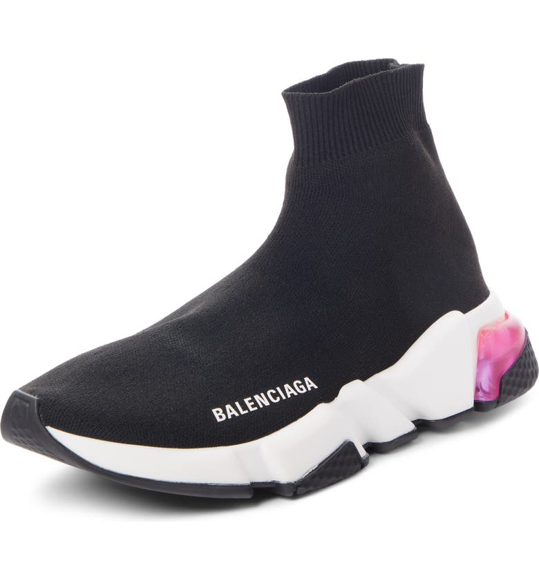 BALENCIAGA Mid Speed Sock Sneaker, Main, color, BLACK/ PINK