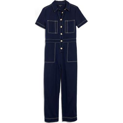 Madewell Contrast Stitch Retro Jumpsuit, Blue