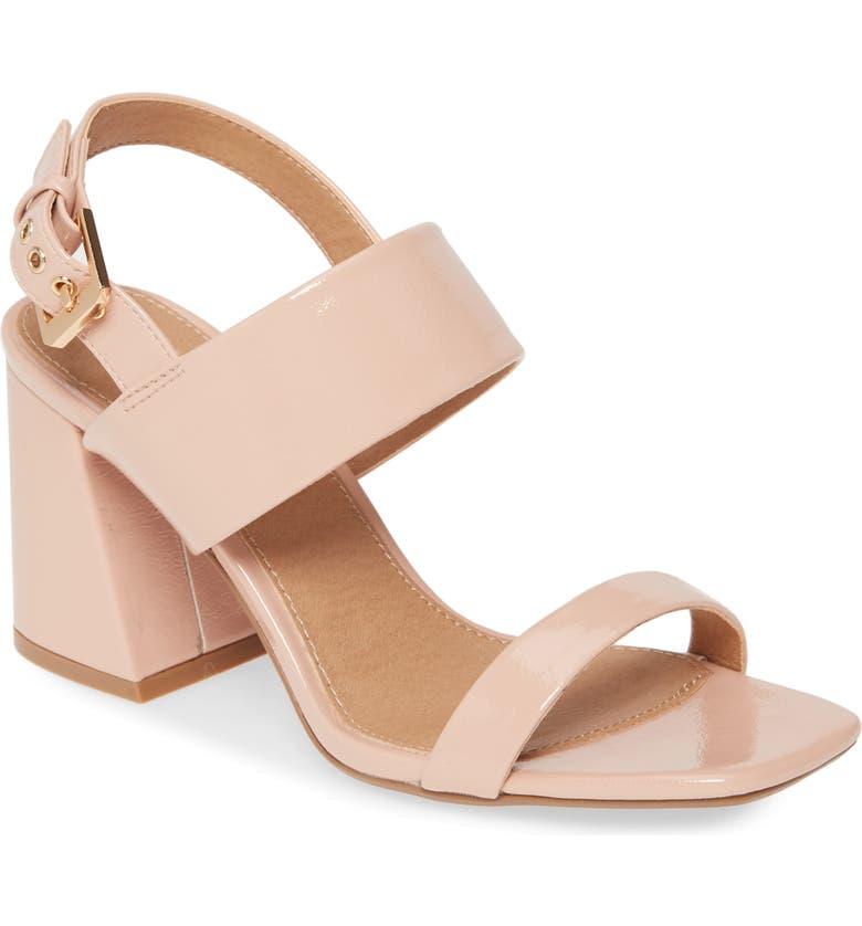 TOPSHOP Sabrina Block Heel Sandal, Main, color, NUDE