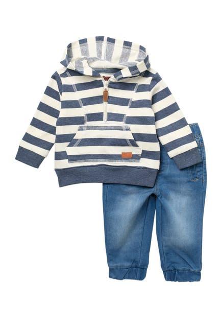 Image of 7 For All Mankind Striped Sweatshirt & Denim Joggers Set
