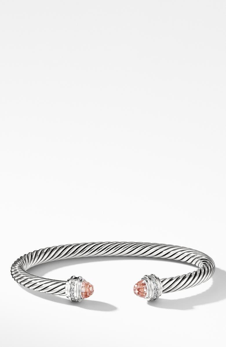 DAVID YURMAN Cable Classics Bracelet with Morganite & Diamonds, 5mm, Main, color, MORGANITE
