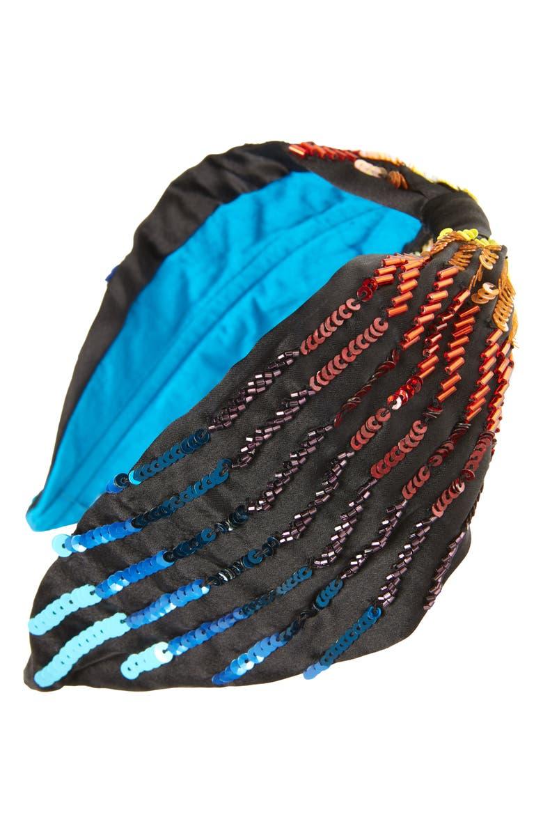 NAMJOSH Rainbow Sequin & Bead Embellished Headband, Main, color, BLACK/ MULTI