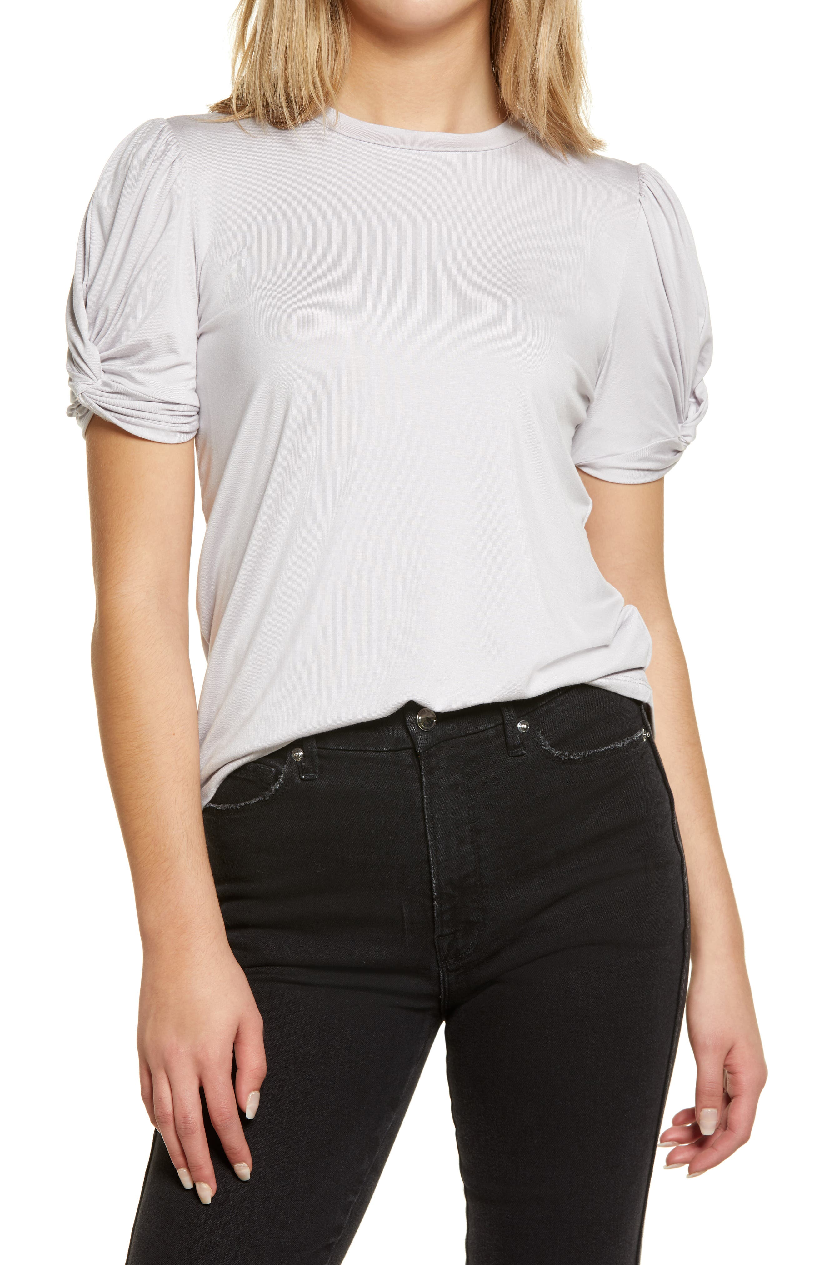 Twisted Sleeve Stretch Knit Top