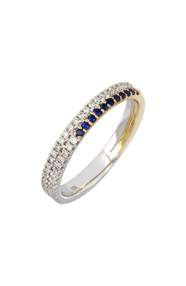 BONY LEVY Two-Row Sapphire & Diamond Ring, Main, color, WHT GOLD/ YELL GOLD/SAPPH
