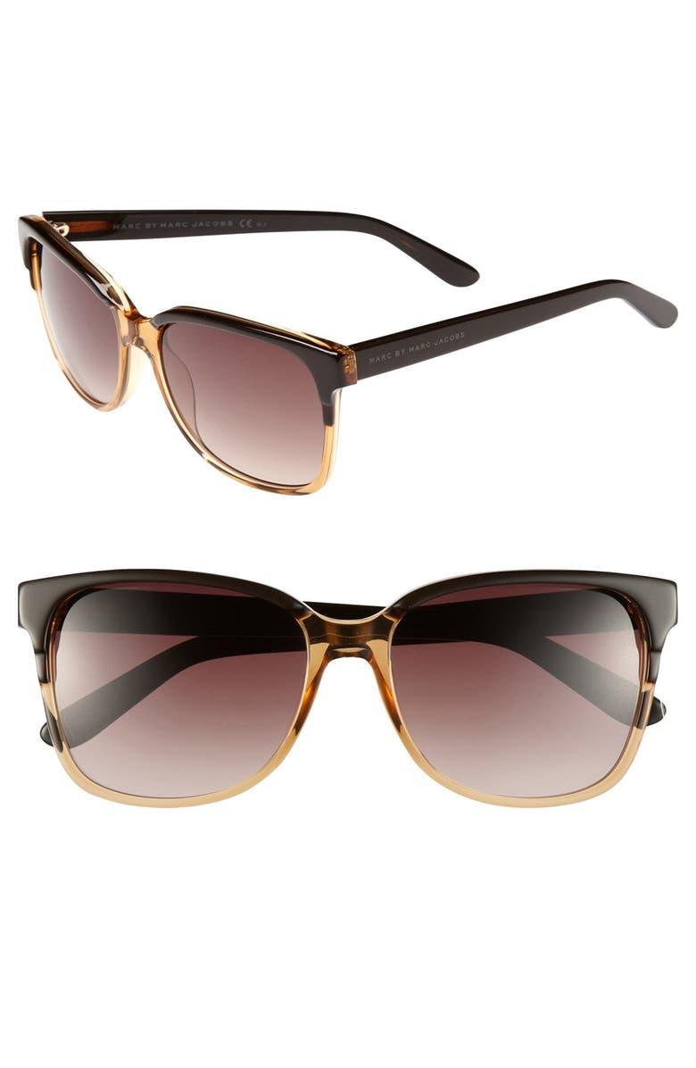 MARC BY MARC JACOBS 57mm Sunglasses, Main, color, BLACK/ HAVANA HONEY