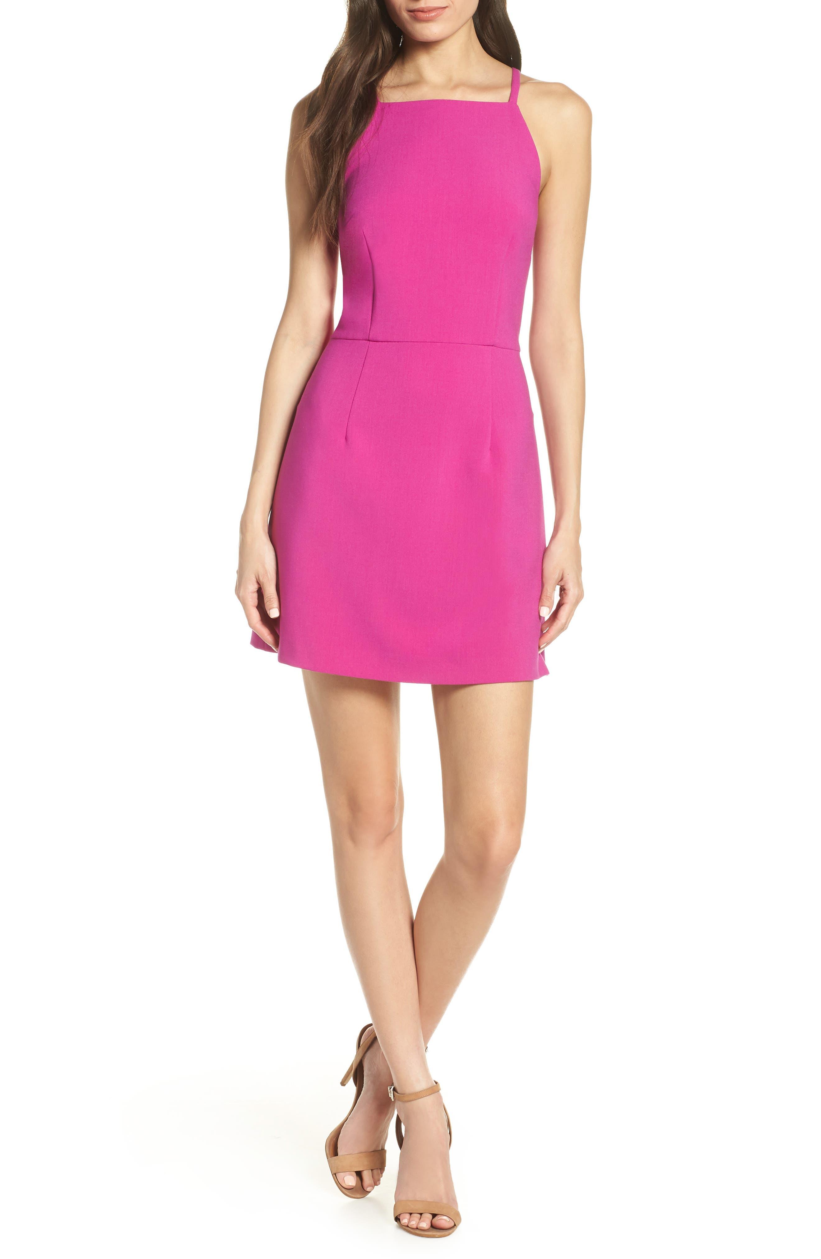 Whisper Light Sheath Minidress, Main, color, PINK PASSION