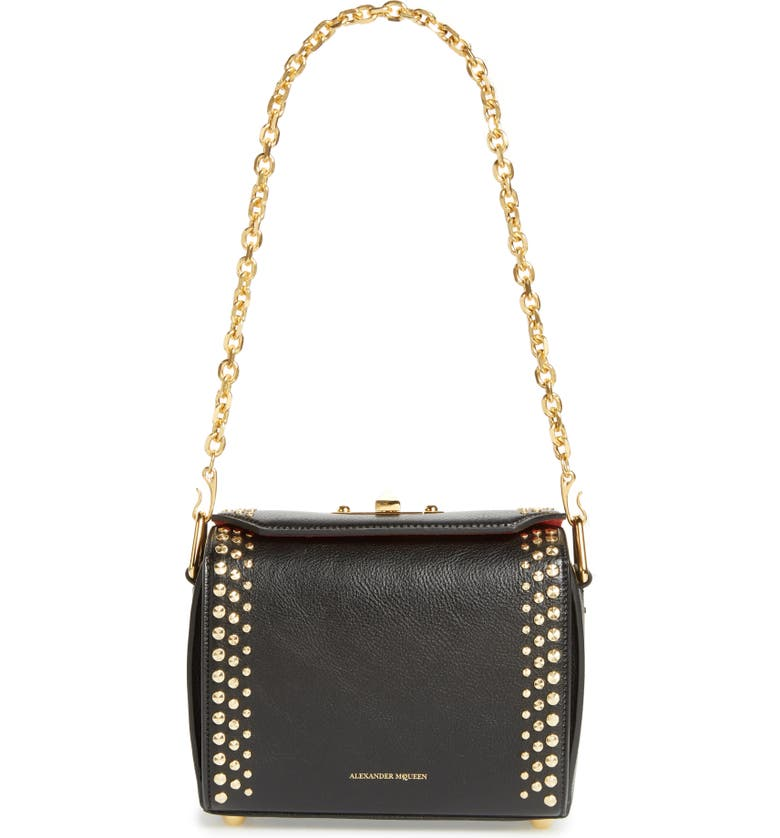 ALEXANDER MCQUEEN Box Bag 19 Studded Leather Bag, Main, color, 001
