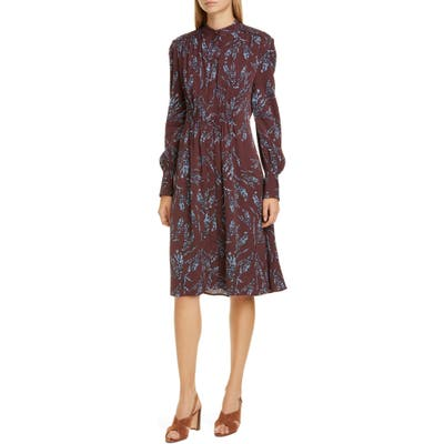 Equipment Ouesse Long Sleeve Dress, Burgundy