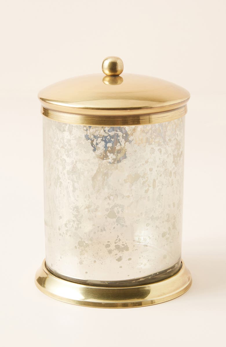 ANTHROPOLOGIE Large Moonglow Glass Bath Canister, Main, color, GOLD