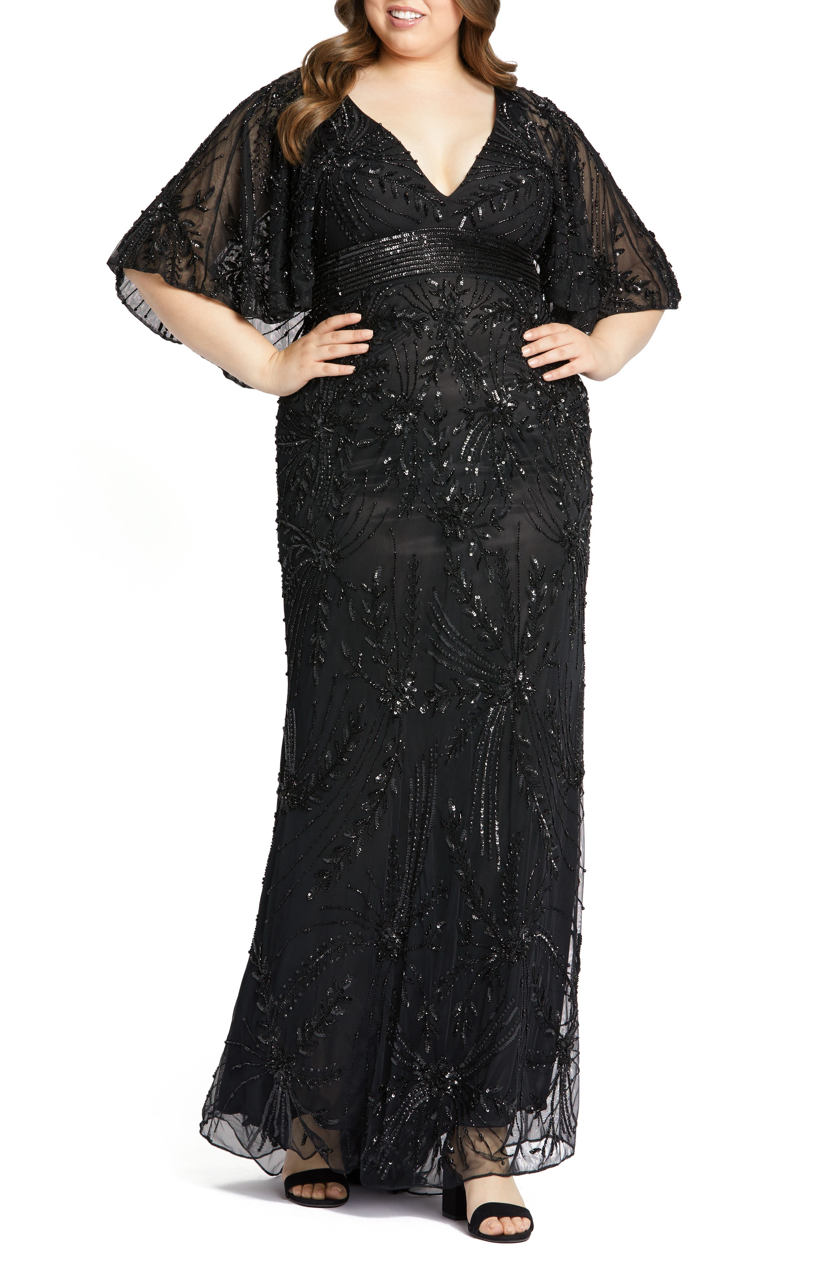 Vintage 1920s Dresses – Where to Buy Plus Size Womens MAC Duggal Beaded Cape Sleeve Column Gown Size 24W - Black $598.00 AT vintagedancer.com