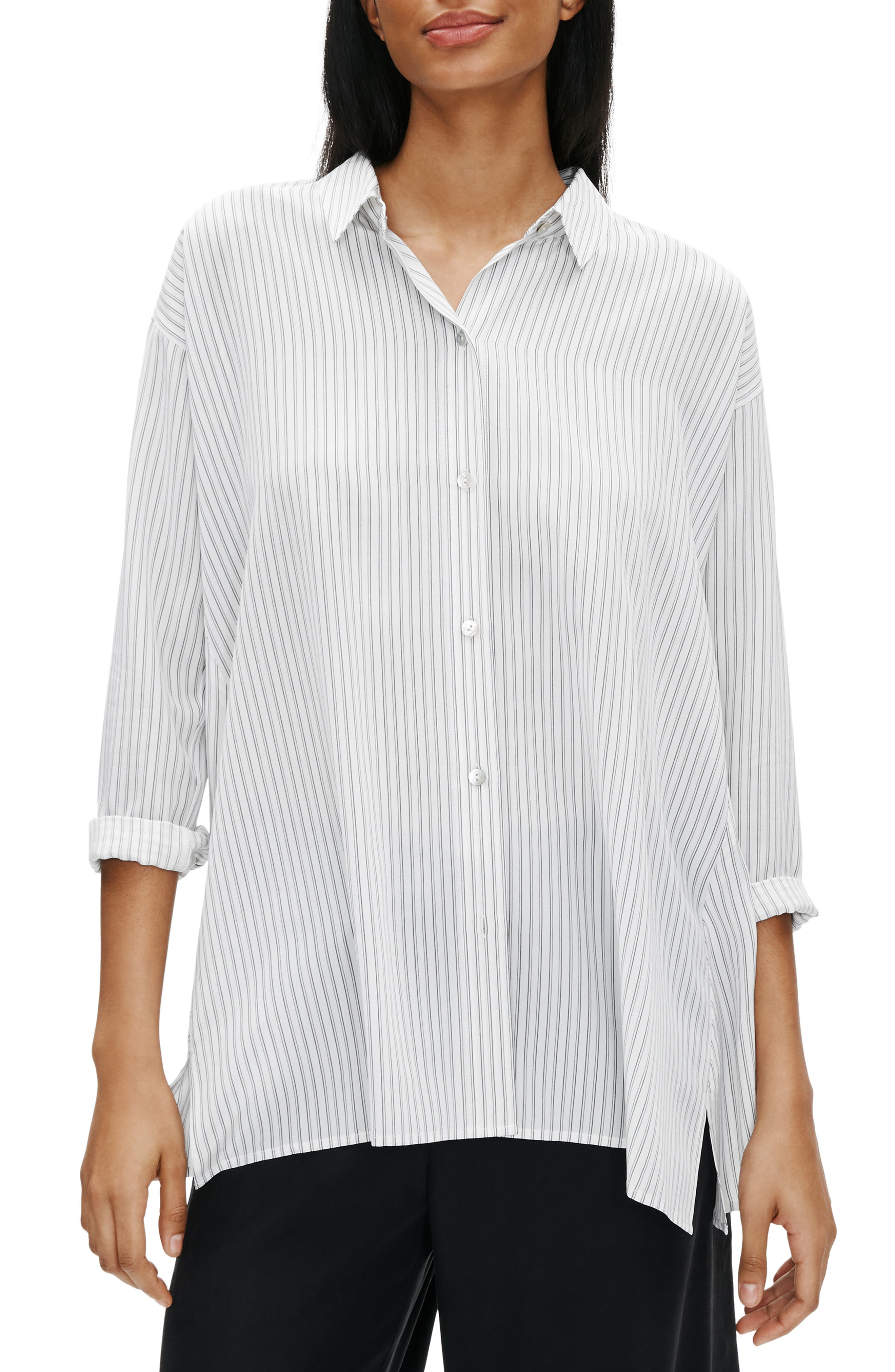 Image of Eileen Fisher Spread Collar Stripe Printed Silk Swing Top