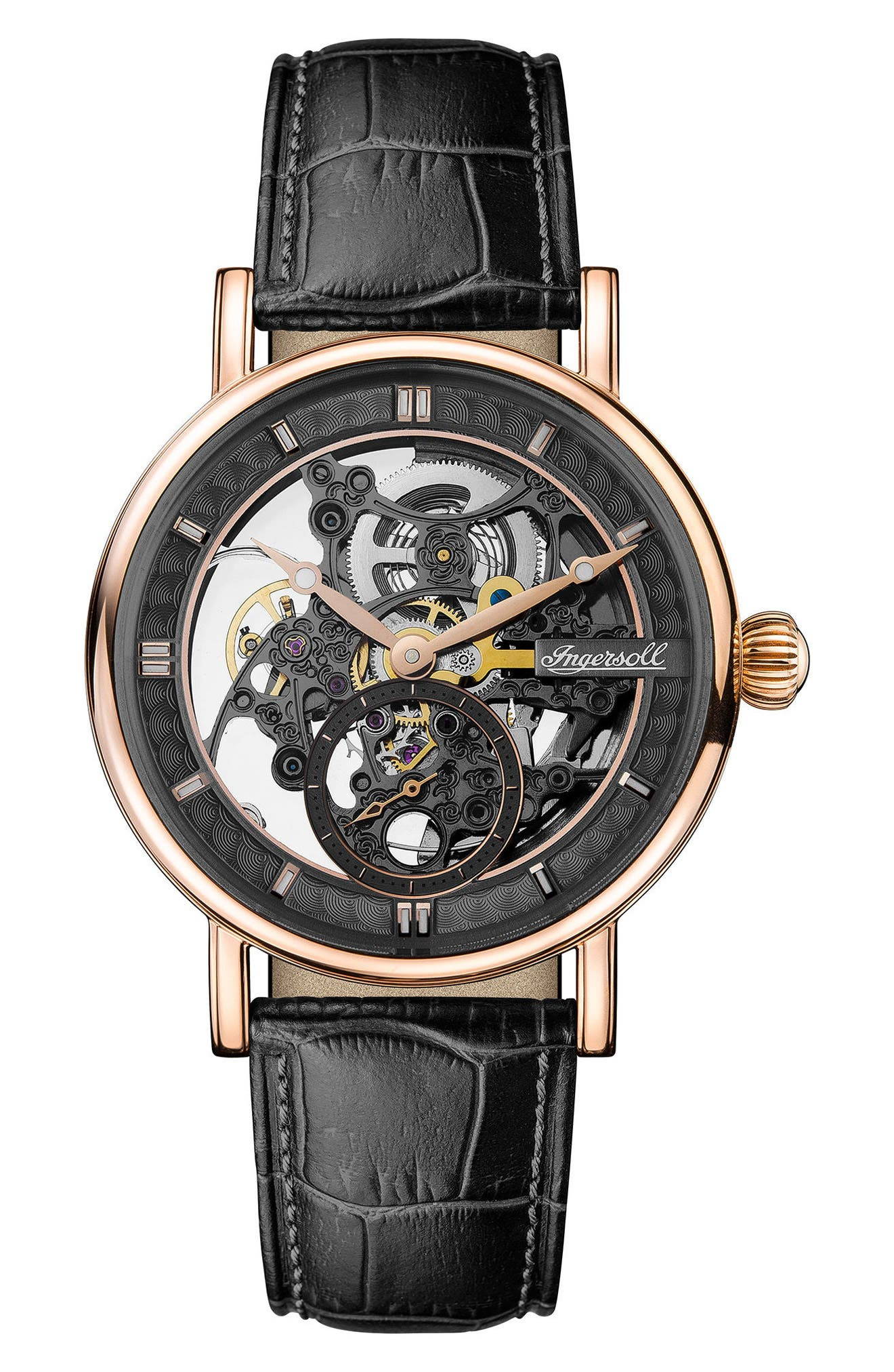 ,                             Ingersoll Herald Automatic Skeleton Leather Strap Watch, 40mm,                             Main thumbnail 1, color,                             BLACK/ SKELETON/ ROSE GOLD