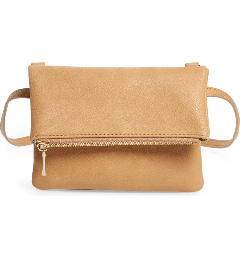 SOLE SOCIETY Cassie Faux Leather Belt Bag, Main, color, CAMEL
