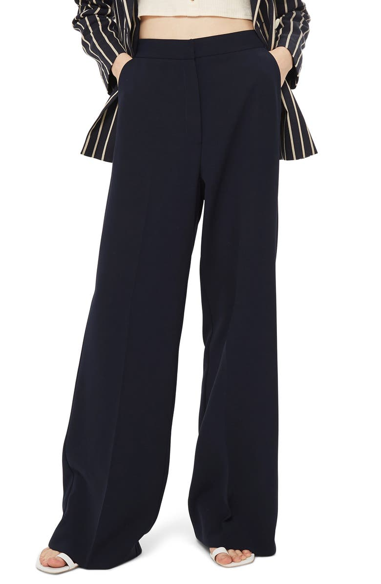 TOPSHOP Clean High-Waist Wide Leg Trousers, Main, color, 411