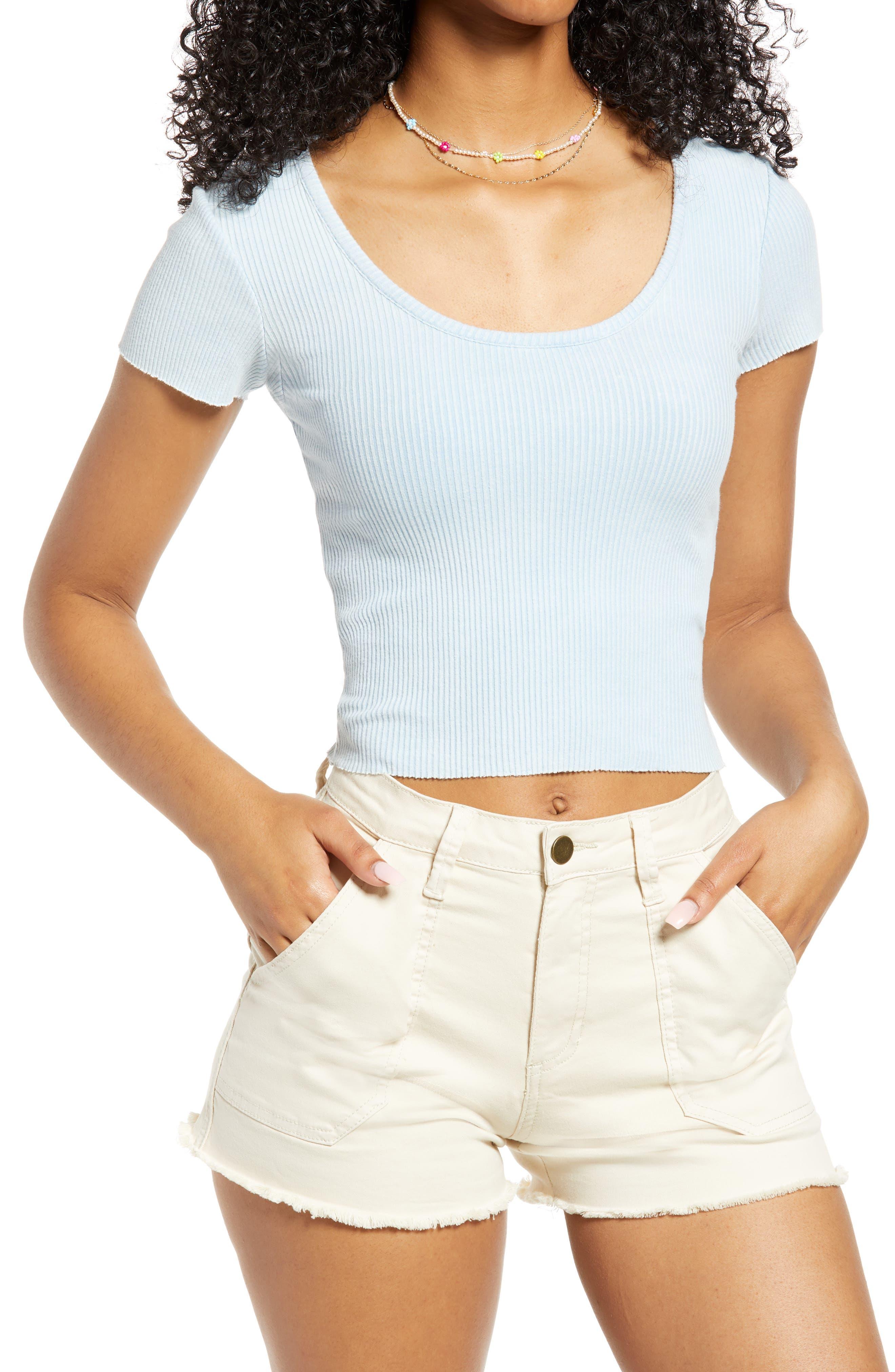 Rib Scoop Neck T-Shirt